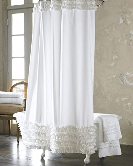 Image Unavailable Not Available For Color White Lace Shower Curtain Clean Polyester Fabric