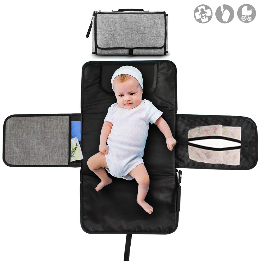 Buger Portable Sac Kit Matelas à Langer de Voyage Promenades pour bébé- Léger, étanche et durable, facile à nettoyer-Dark Gray