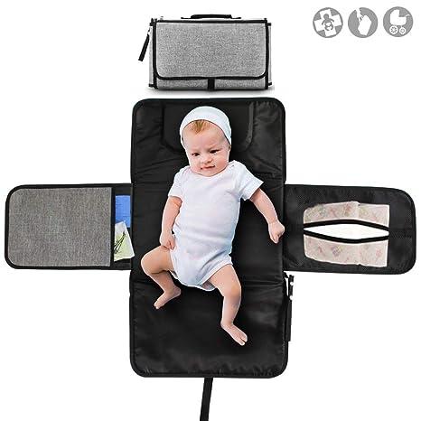 Buyger Cambiador Portátil de Pañales Plegable Viaje Esterilla Bolso Cambiador Pañal para Bebé Ligero Impermeable y Artículo(Gris)