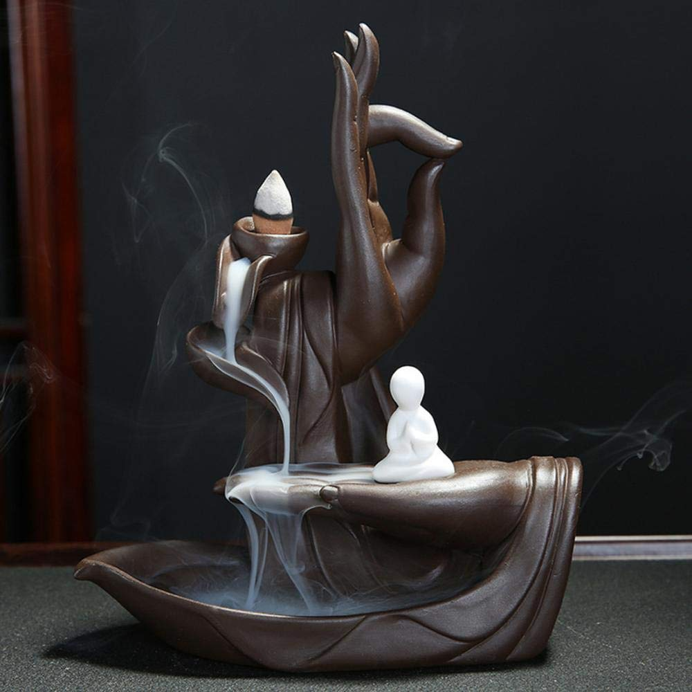 incenso Buddha incenso in ceramica incenso bruciatore incenso Portaincenso antiritorno decorazione domestica artigianato regalo con 10/ coni senza Loto Backflow incense Holder