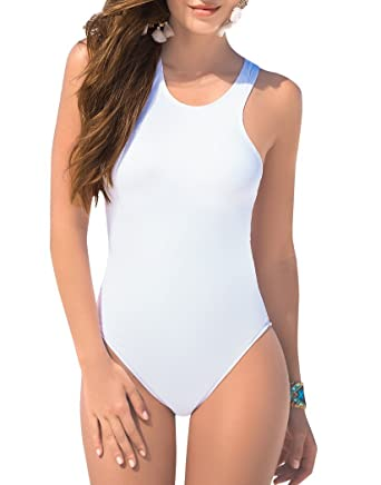 aefc729ed3414 Mapale Lace-up Back One-Piece Swimsuit at Amazon Women s Clothing store