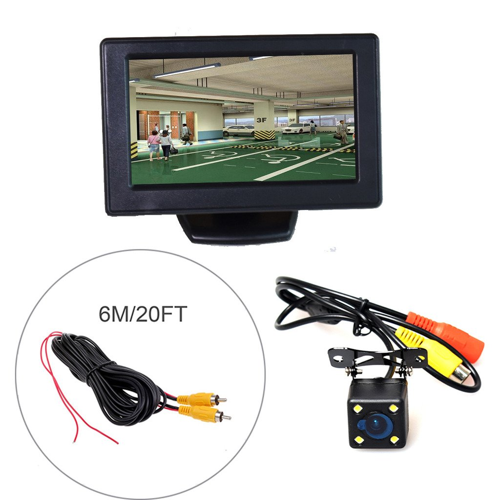 IR Night Vision 10M 7 LCD HD Monitor + Heavy Duty Camera 30FT Video Extension Cable Auto Trigger E-KYLIN Car 12V 24V Truck Parking System
