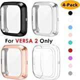NANW 4-Pack Screen Protector Compatible with Fitbit Versa 2, TPU Rugged Bumper Case Cover All-Around Protective Plated Bumper Shell Accessories [Scratch-Proof] for Versa 2 Smartwatch