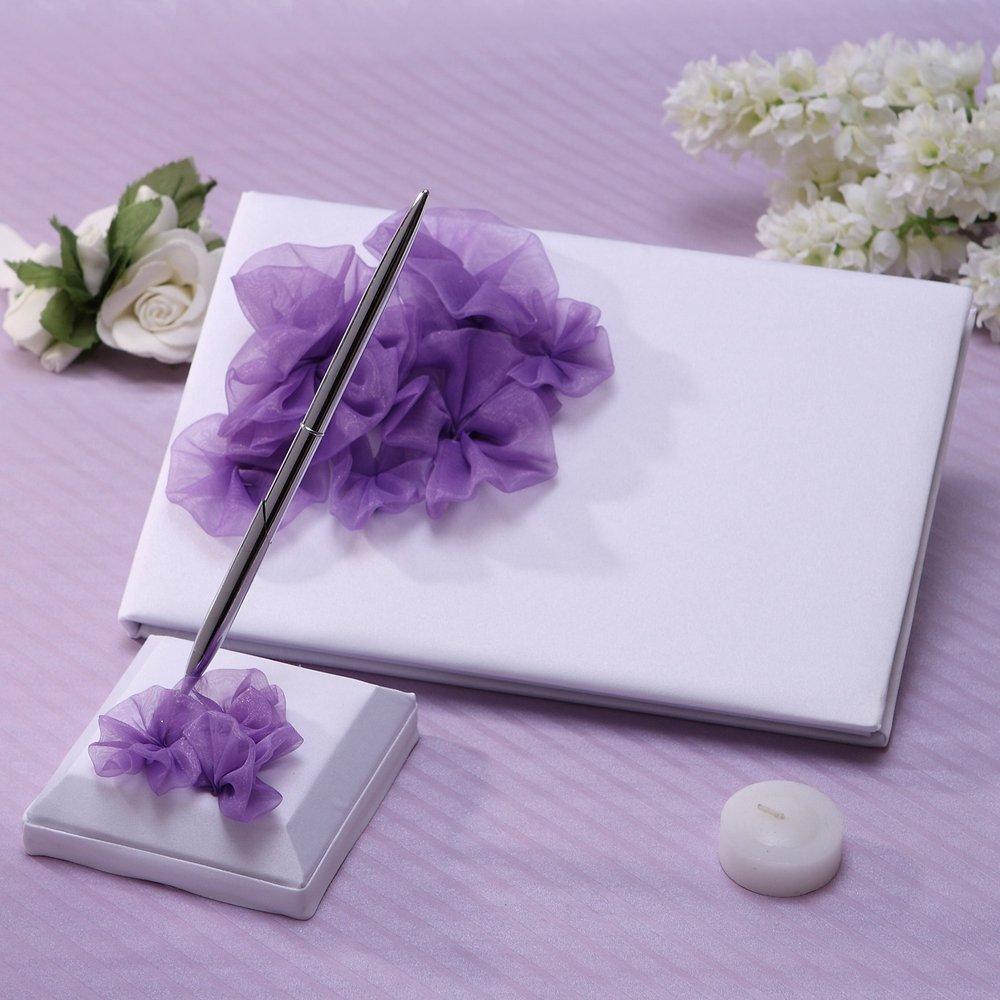 KateMelon Purple Flower Guest Book and Pen Set