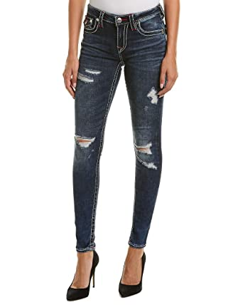 628aac13db751 True Religion Women s Curvy Skinny Big T Jeans in Magnetic Lure w Rips and  Flaps
