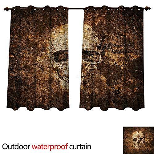 cobeDecor Skull Outdoor Ultraviolet Protective Curtains Halloween Horror Theme Bone W55 x L45(140cm x -