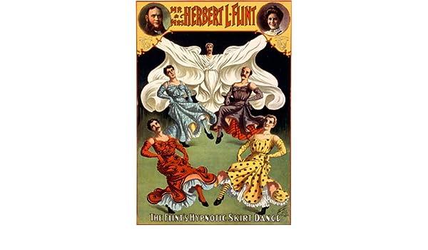 M48 Vintage Herbert Flint Hypnotic Skirt Dance Magic Poster Print A4