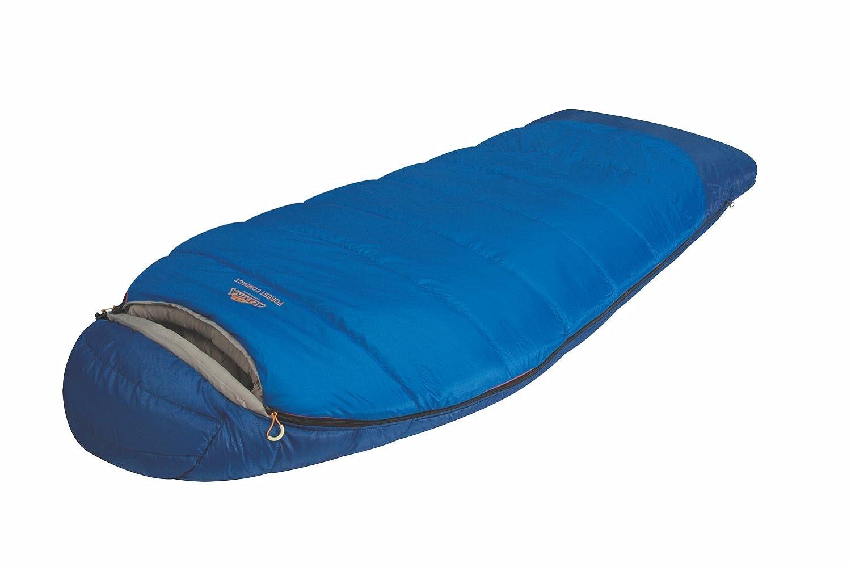 Alexika Schlafsack Forester Compact, rechte Reißverschluss, blau/grau, 90(Breite oben) x200(Länge) x85(Breite unten), 9231.0105R rechte Reißverschluss