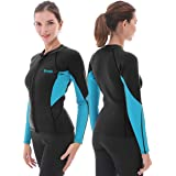 GoldFin Womens Wetsuit Top, 2mm Neoprene Wetsuit Jacket Long Sleeve Wetsuit Shirt for Water Aerobics Diving in Cold Water