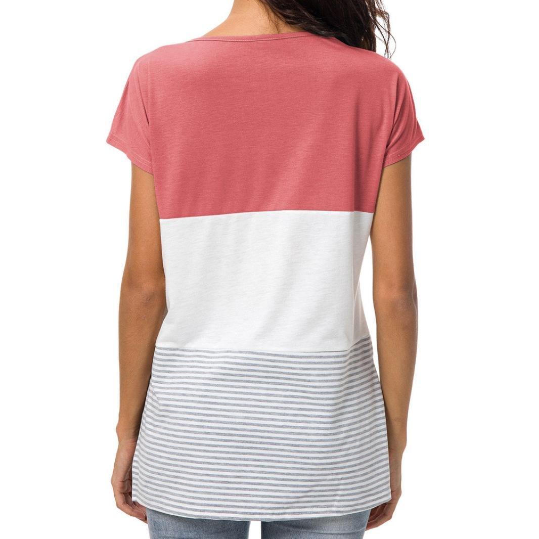 MORCHAN Femmes Manches Courtes Mode Tops Block Stripe T-Shirt Casual Blouse