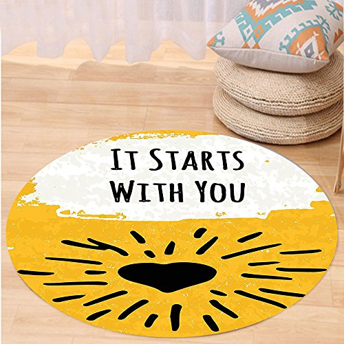 Niasjnfu Chen Custom carpetQuotes Decor Collection It Starts with You Phrase and Heart Shaped Shining Sun Creative Typographic Artwork Bedroom Living Room Dorm Yellow (Aztec Sun Collection)