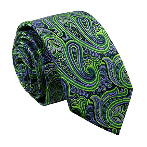 Shlax&Wing Slim Mens Tie Green Purple Paisley Skinny Necktie Classic Fashion QZ18