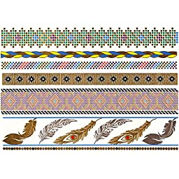 Premium Metallic Hot Selling Temporary Fake Shimmer Jewelry Tattoos Stickers-100+ Designs in Gold,Silver,Black and Turquoise- Bracelets,Feathers,Elephants,Butterfly 6 sheets set