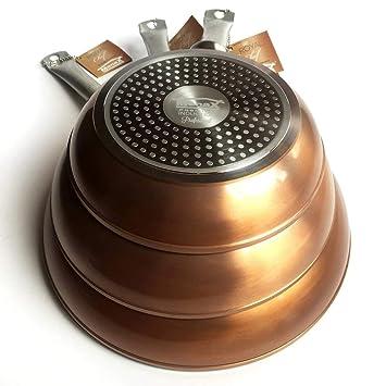Royal Chef - Sartén Profesional de Aluminio Forjado - Recubrimiento Antiadherente Premium - Set de 3 - Ø 20, 24 y 28 cm: Amazon.es: Hogar