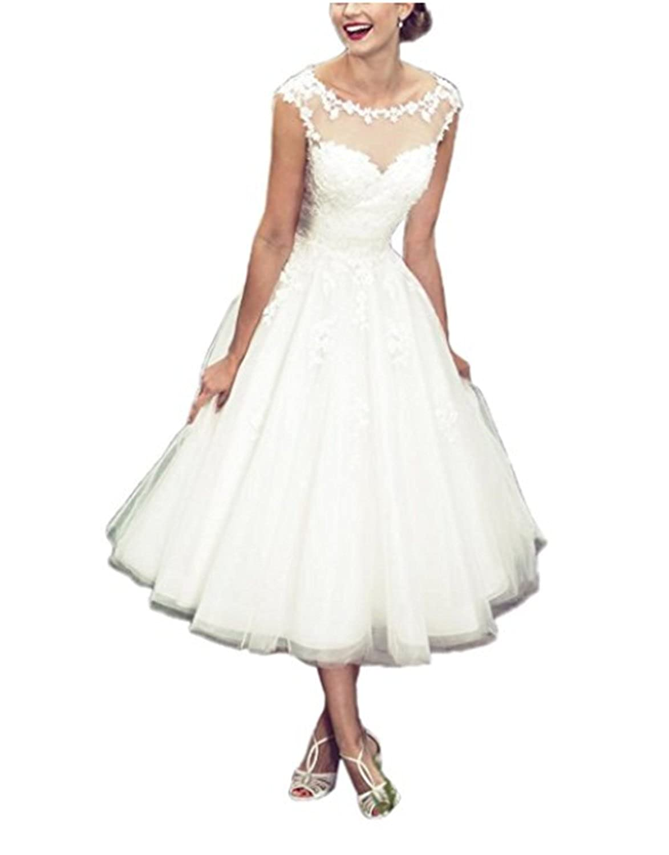 Udresses Vintage Vestidos de Novia Half Sleeve Lace Bridal Wedding Dresses Tea Length D71 at Amazon Womens Clothing store: