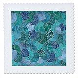 3dRose Uta Naumann Faux Glitter Pattern - Luxury Aqua Teal Faux Metal Foil Glitter Autumnal Foliage Leaf Pattern - 18x18 inch quilt square (qs_269087_7)