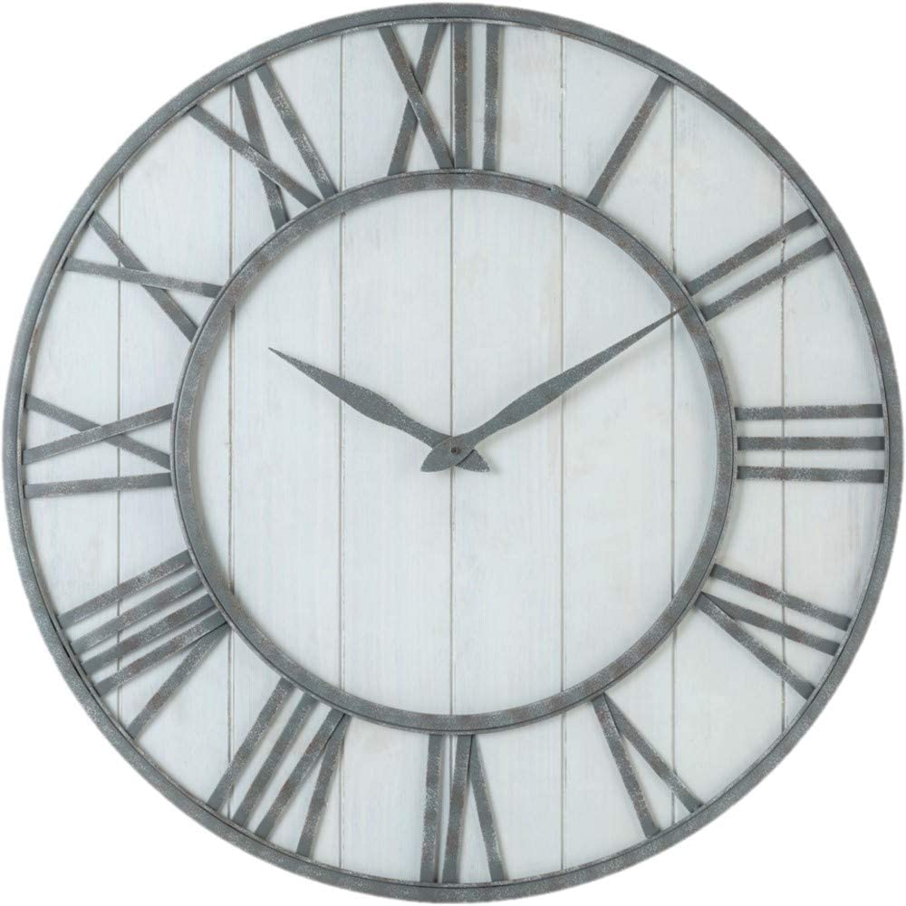 Oldtown Farmhouse Metal & Solid Wood Whisper Quiet Ticking Wall Clock (Whitewash, 30-inch)