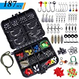 TOPFORT 187pcs Fishing Accessories Kit, Including Jig Hooks, Bullet Bass Casting Sinker Weights, Different Fishing Swivels Snaps, Sinker Slides, Fishing Line Beads, Fishing Set with Tackle Box