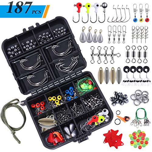 TOPFORT 187pcs Fishing Accessories Kit, Including Jig Hooks, Bullet Bass Casting Sinker Weights, Different Fishing Swivels Snaps, Sinker Slides, Fishing Line Beads, Fishing Set with Tackle Box...