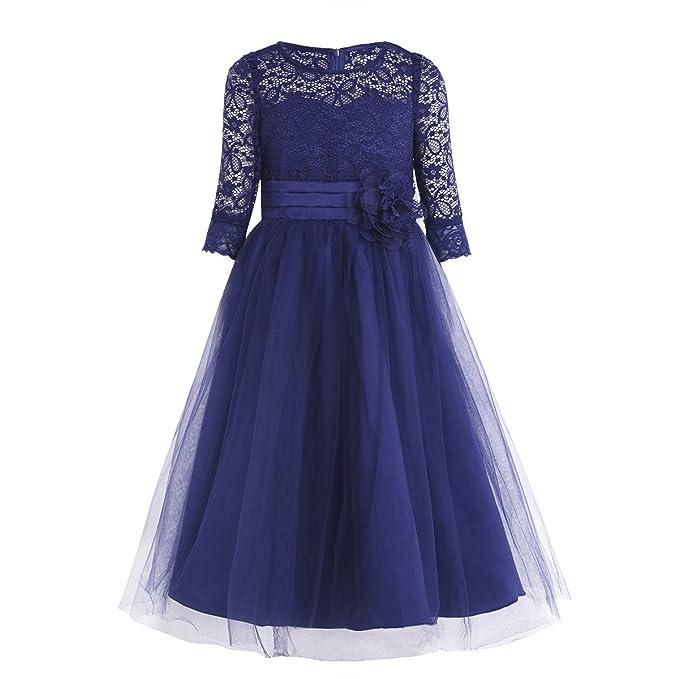 Freebily Vestido de Encaje Floreado de Fiesta Bautizo Ceremonia Princesa para Niña Dama de Honor Azul