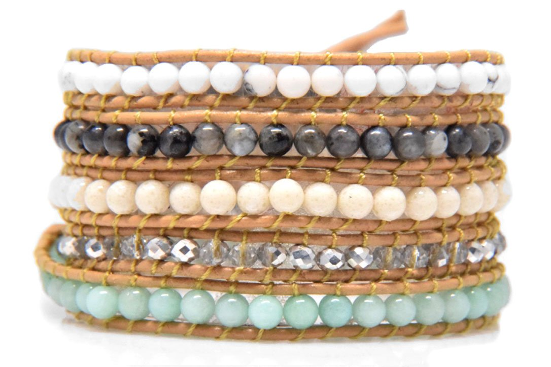Amazonite Mix Stone Wrap Bracelet Handmade Woven Brown Leather Multilayer 4 mm Bangle