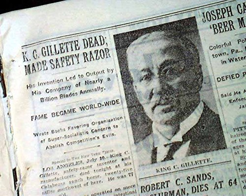 KING CAMP GILLETTE Safety Razor Disposable Blade Invention DEATH 1932 Newspaper THE NEW YORK TIMES, July 11, 1932