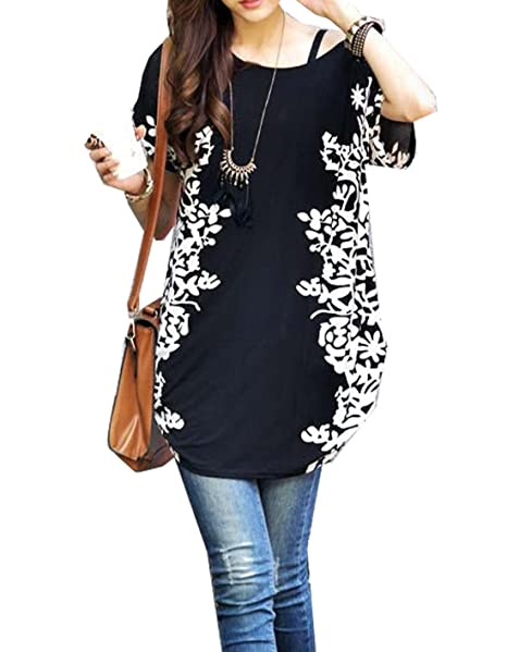 Relipop Women Summer Tunic Short Sleeve Casual Loose Blouse Top at Amazon Women's  Clothing store: