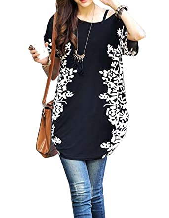 dc5230add7b Relipop Women Summer Tunic Short Sleeve Casual Loose Blouse Top (Small,  Black)