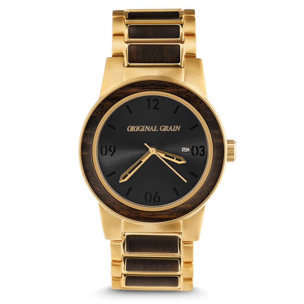 Original Grain Wood Wrist Watch | Barrel Collection 42MM Analog Watch | Wood And Brushed Gold Stainless Steel Watch Band | Japanese Quartz Movement | Ebony Wood