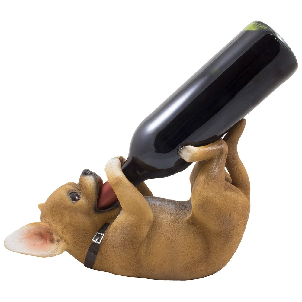 Drinking Chihuahua Puppy Dog Single Wine Bottle Holder Statue in Southwest Décor for Bar and Tabletop Decorative Wine Racks & Display Stands as Whimsical Animal Gifts for Pet Lovers