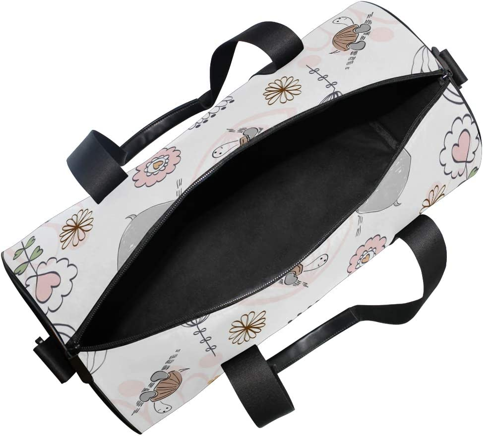 MALPLENA Hippo Turtle Bird Drum gym duffel bag women Travel Bag
