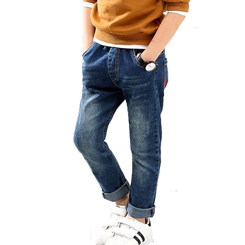 OnlyAngel Boys Classic Washed Color Jeans Elastic Waistband Denim Pants Age 4-11 (10-11 Years)