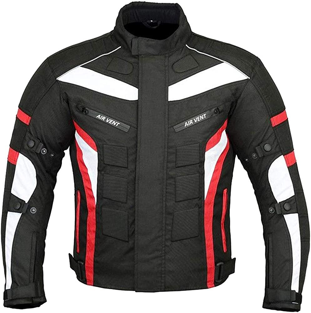 NORMAN Red//Black Mens Jacket Motorcycle Motorbike Waterproof Textile Cordura with CE Armoured
