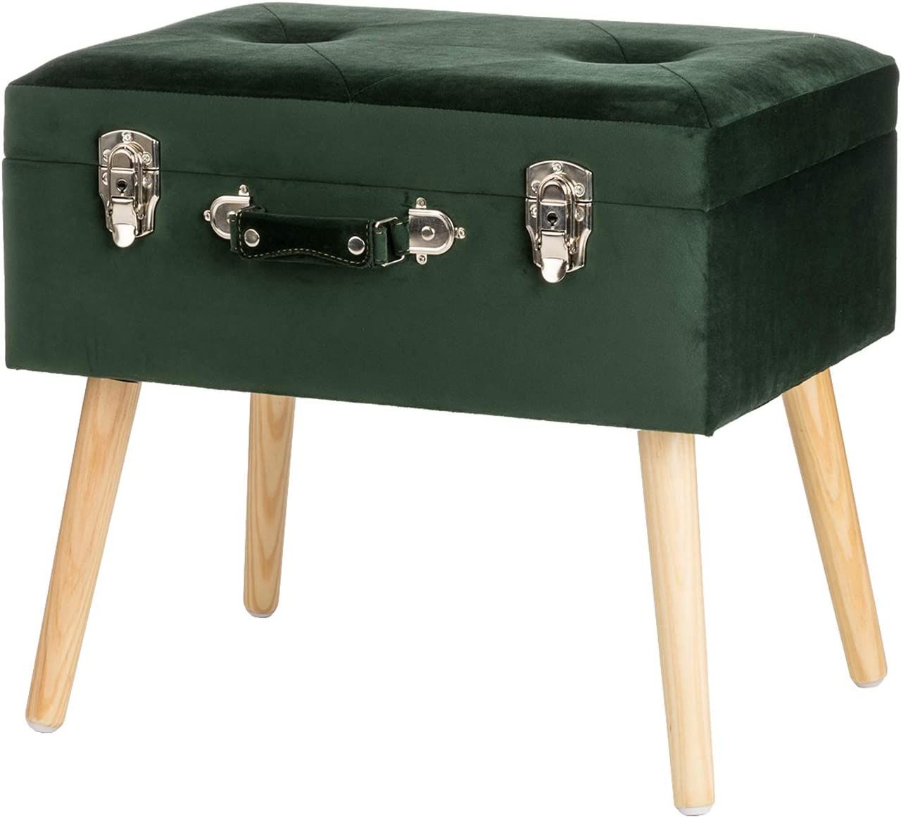 Glitzhome Velvet Foot Stool Seat Storage Footrest Stool Modern Dressing Upholstered Vanity Stool Padded Ottoman with Tufted Seat Wood Legs Decorative Accent Furniture Shoes Bench, Dark Green