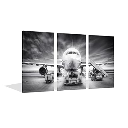 Amazon.com: Live Art Decor - Large 3 Piece Canvas Wall Art Airplane ...