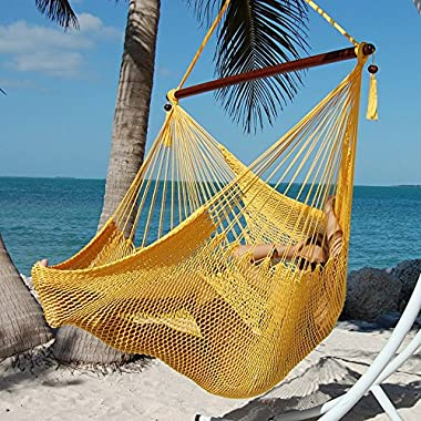 Large Caribbean Hammock Chair - 48 Inch - Polyester - Hanging Chair - yellow