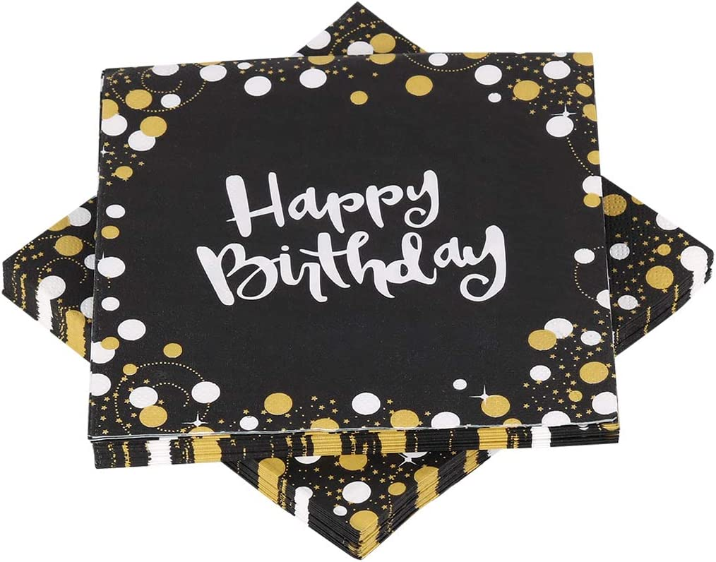 Happy Birthday Napkins, Disposable Paper Napkins Black Gold Party Decorations, Cake Napkins Party Supplies for Boy Man Birthday Anniversary Cocktail Napkins 32 Pack (3 Ply Paper/33 x 33cm)