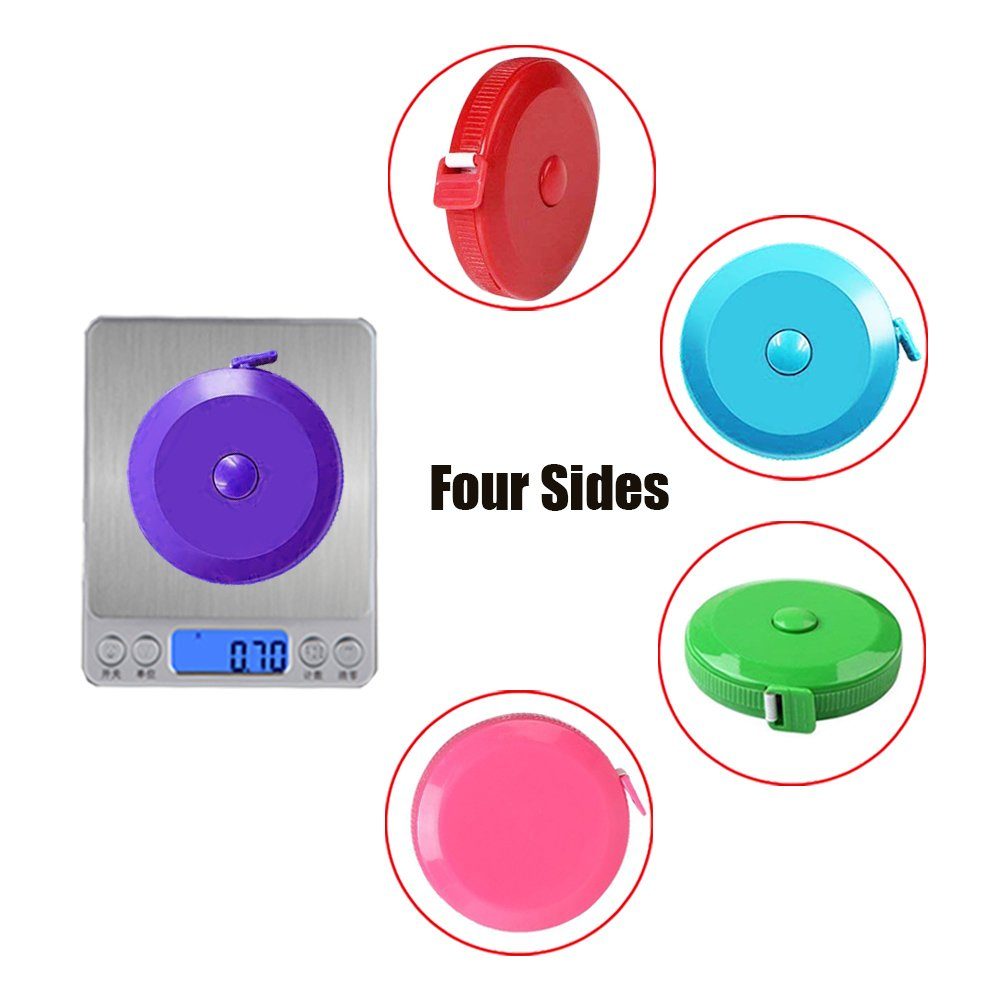 Tape Measure 150 cm 60 Inch Push Button Tape Body Measuring Soft Retractable for Sewing Double-Sided Tailor Cloth Ruler 3Pack by MXRS Sky Blue Purple Silver