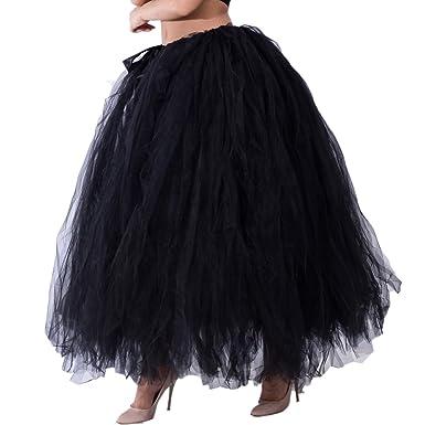 5317b58571 Dorchid Women Puffy Tutu Tulle Skirt Crinoline for Dance Maxi Plus Size  Black