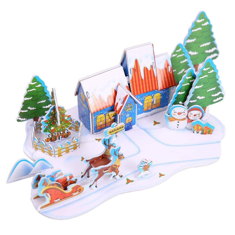 Demiawaking Christmas Doll House Villages Miniatures DIY Kit Assemble Snowman Reindeer Santa Xmas Tree Scene House Puzzle Gift Ornagment Decor (Style B) DemiawakingUK