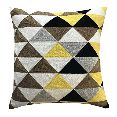 SLOW COW Embroidery Cotton Cushion Cover with Colorful Triangular, Invisible Zipper Soft Decorative Throw Pillow Cover for Sofa 18x18 Inch.