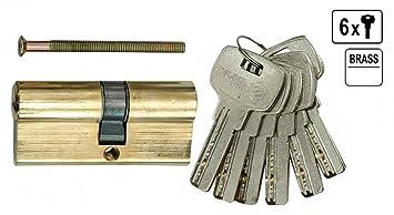 Sicherheits Schließzylinder Tür Schloß Türschloß 67 Mm 6 X Schlüssel 31/36  Messing