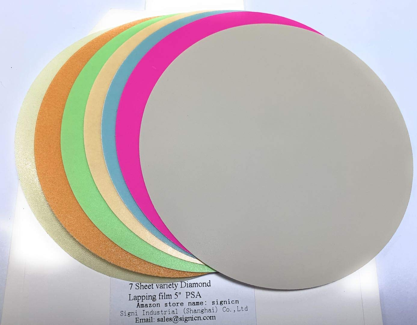 7 Sheet Variety Pack 5 inch Lapping Microfinishing Film Diamond PSA 1,3, 9, 15, 30,45 and 60 microns D