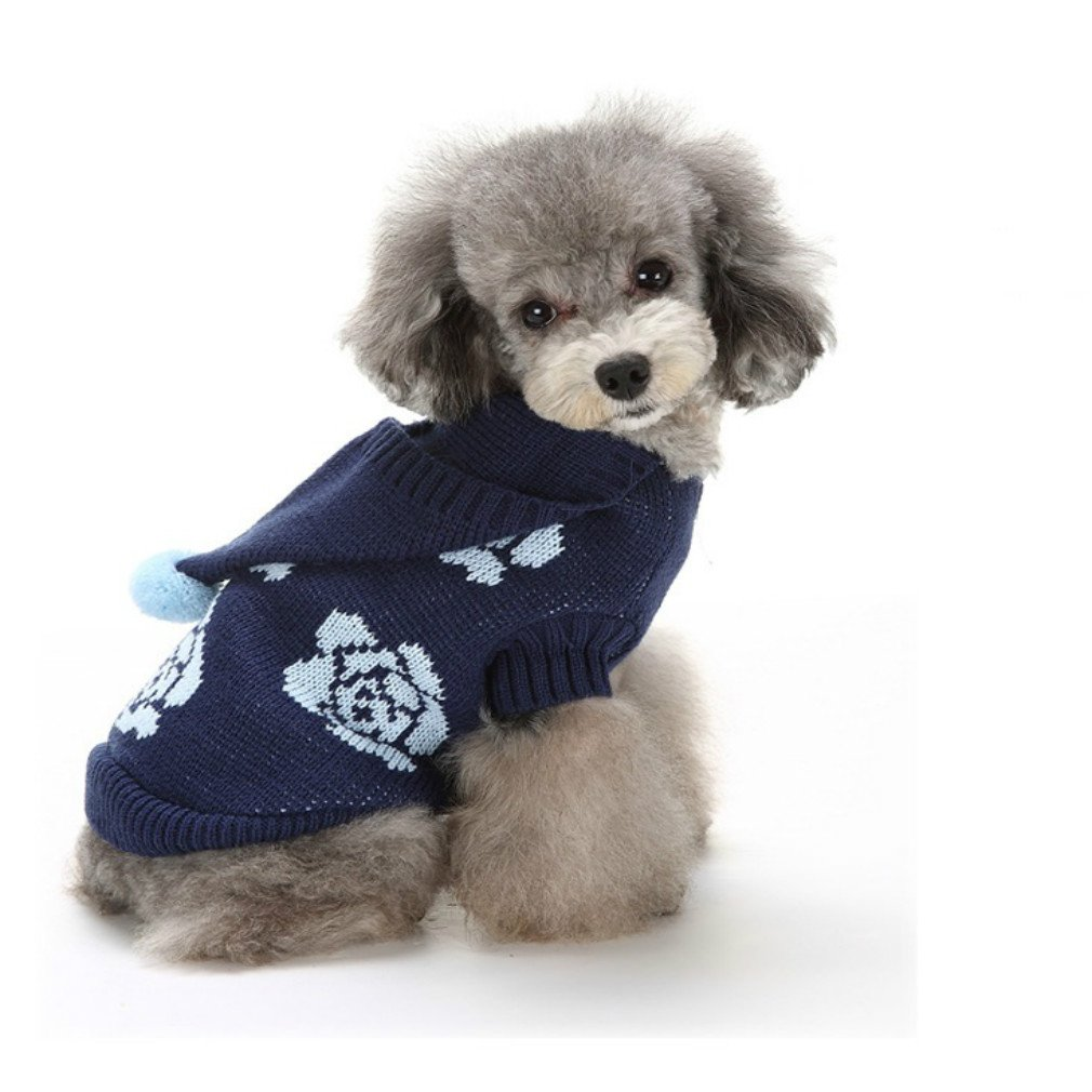 Sweaters Clothes For Dogs Rose Flower Hoodie Dog Sweaters for Puppy 8'' Back Length, X-Small