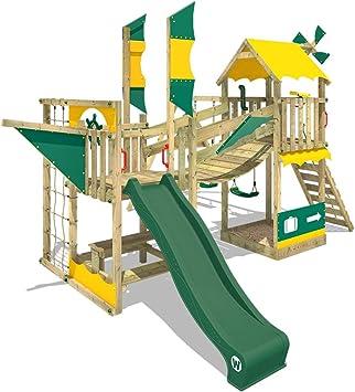 WICKEY Parque infantil de madera Smart Cruiser con columpio y tobogán verde, Casa de juegos de jardín con arenero y escalera para niños: Amazon.es: Bricolaje y herramientas