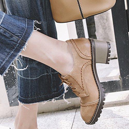 Oaleen Chaussures de ville femme rétro à lacets derbies