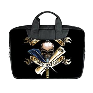 INSTALL AND EASY TO CARRY Wear& Slim &Dapper Black Skull Marine Corps Custom Waterproof Nylon Bag for Laptop 15 Inches(Twin sides)
