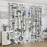 smallbeefly Video Games Room Darkening Wide Curtains Monochrome Sketch Style Gaming Design Racing Monitor Device Gadget Teen 90s Decor Curtains By 72''x84'' Black White