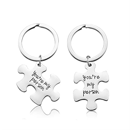 IWenSheng 2PCS You Are My Person Matching Keychain For Women Teen Girls Valentines Day Gift