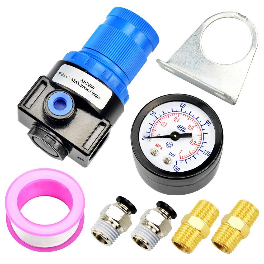Tailonz Pneumatic 1//4 Inch NPT AFR2000 Air Filter Pressure Regulator Kit(0 to 145 Psi) Air Tool Compressor Filter with Gauge